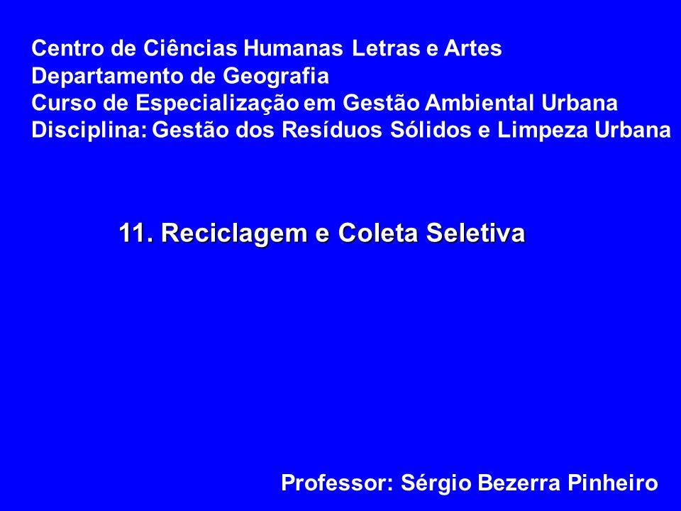 11. Reciclagem e Coleta Seletiva Centro de Ciências Humanas Letras e Artes Departamento de Geografia Curso de Especialização em Gestão Ambiental Urban