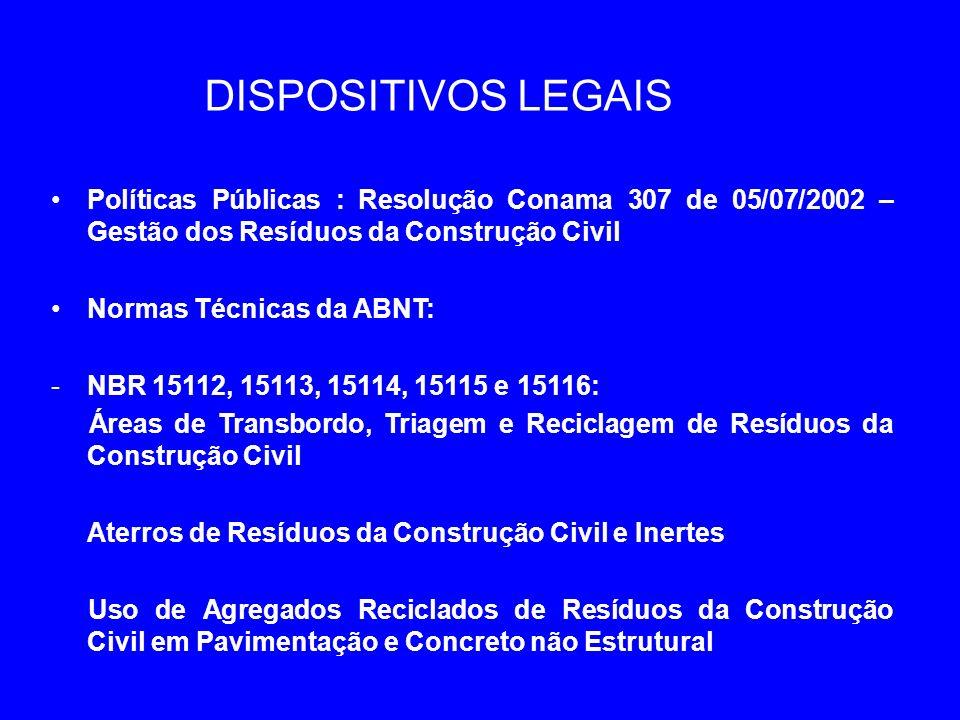 DISPOSITIVOS LEGAIS Políticas Públicas : Resolução Conama 307 de 05/07/2002 – Gestão dos Resíduos da Construção Civil Normas Técnicas da ABNT: -NBR 15