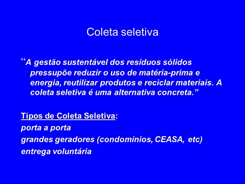 Coleta seletiva A gestão sustentável dos resíduos sólidos pressupõe reduzir o uso de matéria-prima e energia, reutilizar produtos e reciclar materiais