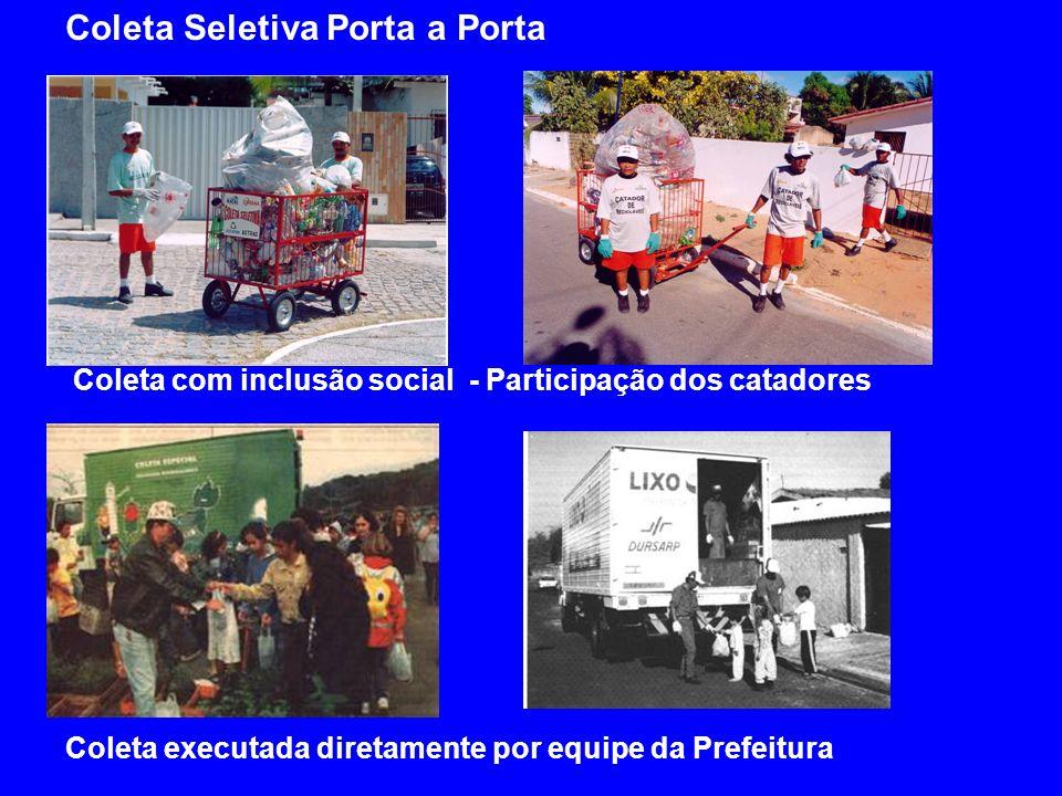 Coleta executada diretamente por equipe da Prefeitura Coleta Seletiva Porta a Porta Coleta com inclusão social - Participação dos catadores