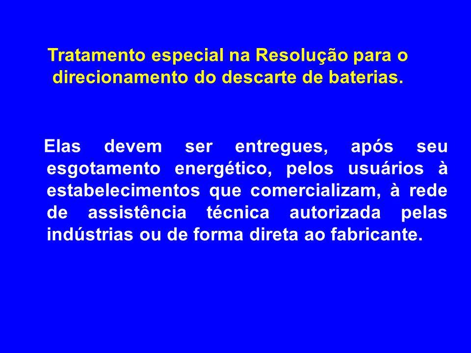 Elas devem ser entregues, após seu esgotamento energético, pelos usuários à estabelecimentos que comercializam, à rede de assistência técnica autoriza