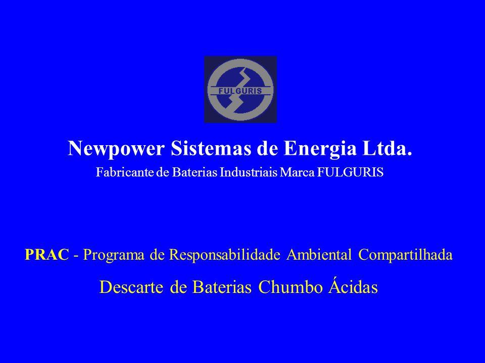 PRAC - Programa de Responsabilidade Ambiental Compartilhada Descarte de Baterias Chumbo Ácidas Newpower Sistemas de Energia Ltda. Fabricante de Bateri