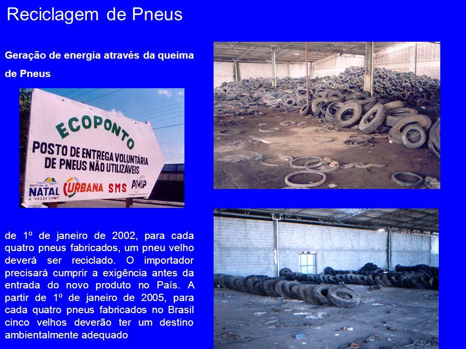 Geração de energia através da queima de Pneus de 1º de janeiro de 2002, para cada quatro pneus fabricados, um pneu velho deverá ser reciclado. O impor
