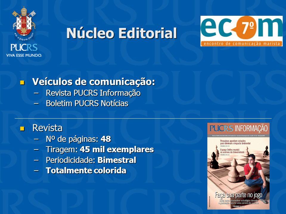 Núcleo Editorial Veículos de comunicação: Veículos de comunicação: –Revista PUCRS Informação –Boletim PUCRS Notícias Revista Revista –Nº de páginas: 4