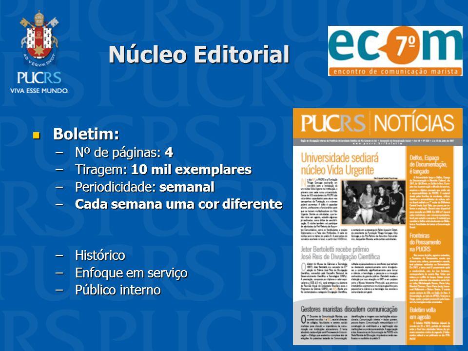 Núcleo Editorial Boletim: Boletim: –Nº de páginas: 4 –Tiragem: 10 mil exemplares –Periodicidade: semanal –Cada semana uma cor diferente –Histórico –En