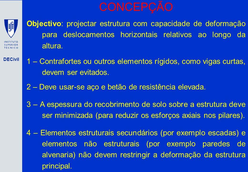 DECivil CONCEPÇÃO Objectivo: projectar estrutura com capacidade de deformação para deslocamentos horizontais relativos ao longo da altura. 1 – Contraf