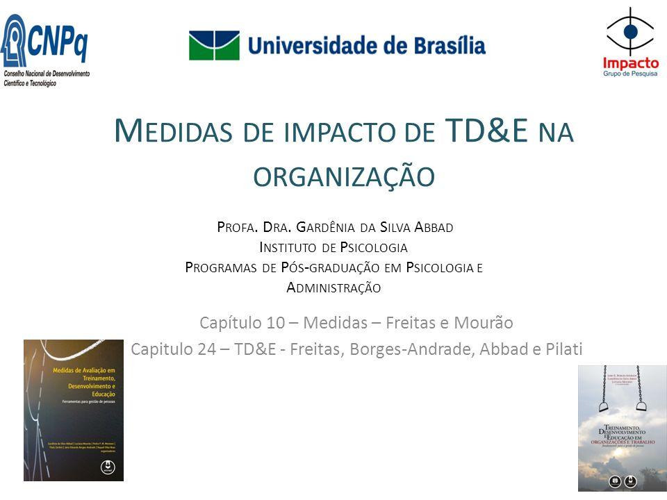 M EDIDAS DE IMPACTO DE TD&E NA ORGANIZAÇÃO Capítulo 10 – Medidas – Freitas e Mourão Capitulo 24 – TD&E - Freitas, Borges-Andrade, Abbad e Pilati P ROFA.