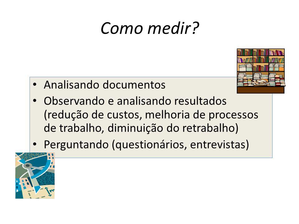 Como medir? Analisando documentos Observando e analisando resultados (redução de custos, melhoria de processos de trabalho, diminuição do retrabalho)