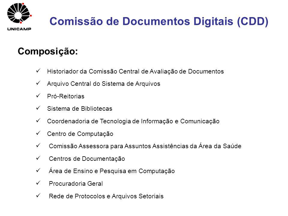 Comissão de Documentos Digitais (CDD) Historiador da Comissão Central de Avaliação de Documentos Arquivo Central do Sistema de Arquivos Pró-Reitorias