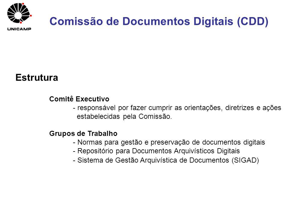 Estrutura Comitê Executivo - responsável por fazer cumprir as orientações, diretrizes e ações estabelecidas pela Comissão. Grupos de Trabalho - Normas