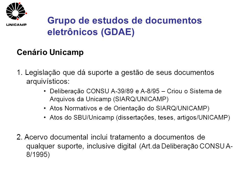 Cenário Unicamp 1. Legislação que dá suporte a gestão de seus documentos arquivísticos: Deliberação CONSU A-39/89 e A-8/95 – Criou o Sistema de Arquiv