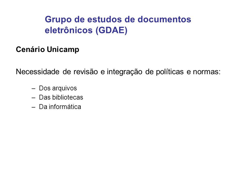 Grupo de estudos de documentos eletrônicos (GDAE) Cenário Unicamp Necessidade de revisão e integração de políticas e normas: –Dos arquivos –Das biblio