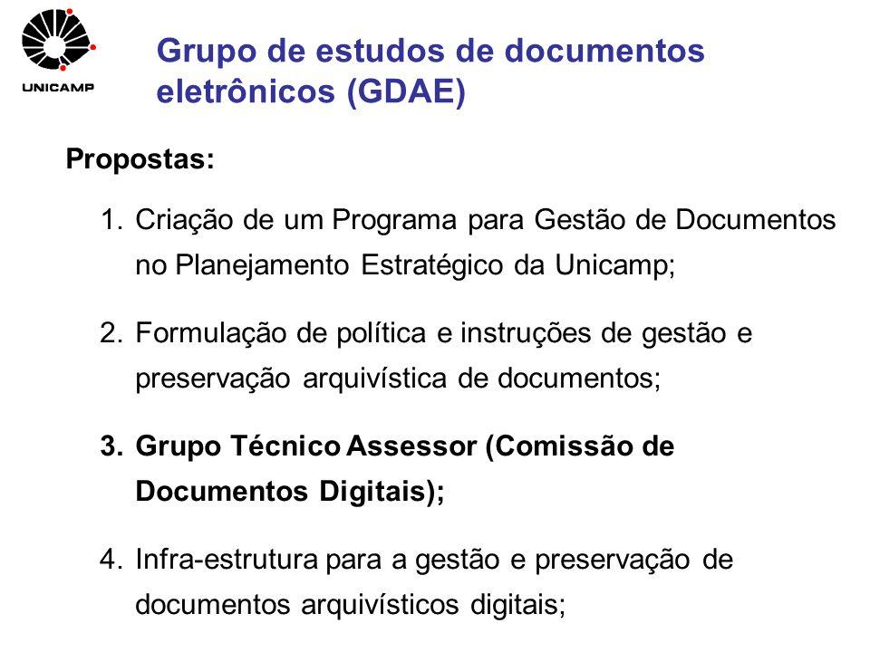 Grupo de estudos de documentos eletrônicos (GDAE) Propostas: 1.Criação de um Programa para Gestão de Documentos no Planejamento Estratégico da Unicamp