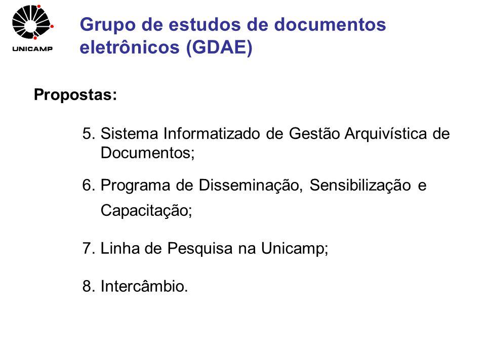 Propostas: 5.Sistema Informatizado de Gestão Arquivística de Documentos; 6.Programa de Disseminação, Sensibilização e Capacitação; 7.Linha de Pesquisa