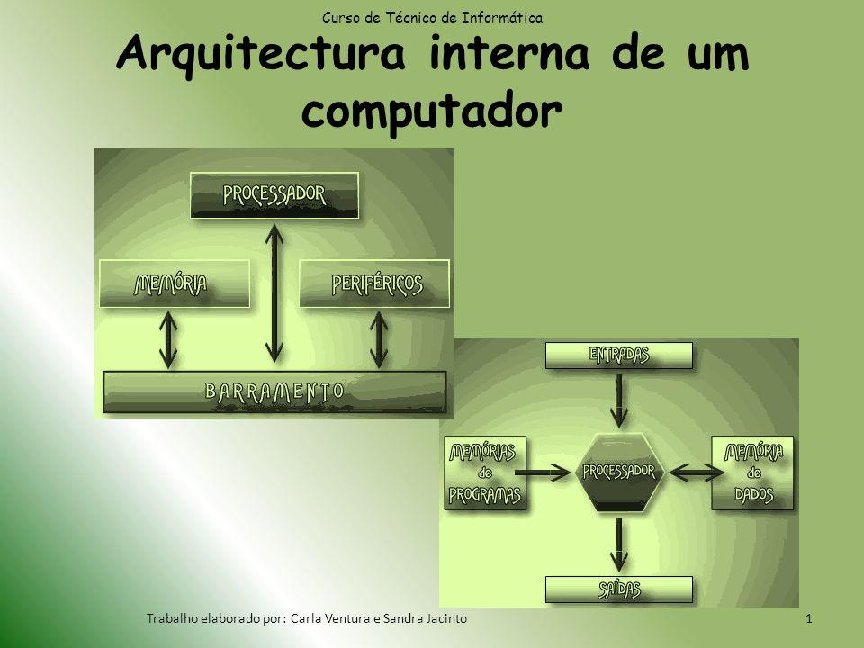 Curso de Técnico de Informática Trabalho elaborado por: Carla Ventura e Sandra Jacinto1 Arquitectura interna de um computador