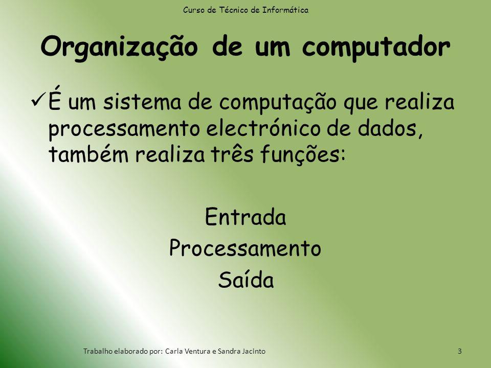 Organização de um computador É um sistema de computação que realiza processamento electrónico de dados, também realiza três funções: Entrada Processamento Saída Curso de Técnico de Informática Trabalho elaborado por: Carla Ventura e Sandra Jacinto3