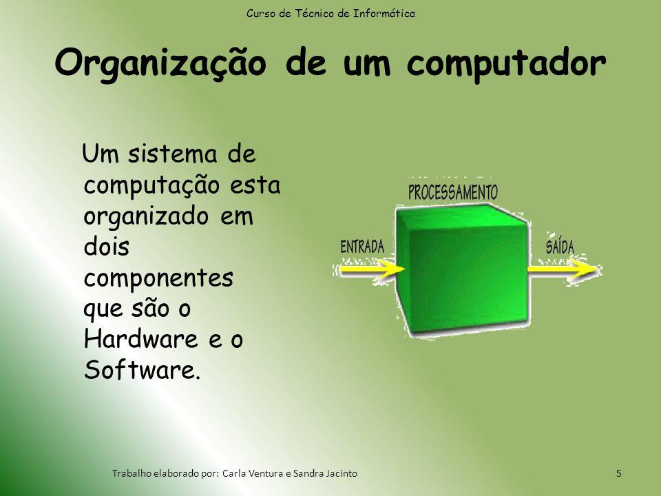 Organização de um computador Um sistema de computação esta organizado em dois componentes que são o Hardware e o Software.