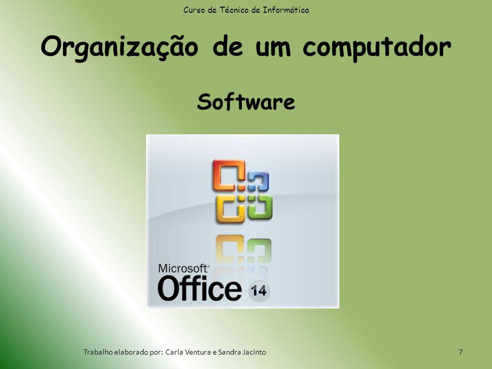 Organização de um computador Software Curso de Técnico de Informática Trabalho elaborado por: Carla Ventura e Sandra Jacinto7