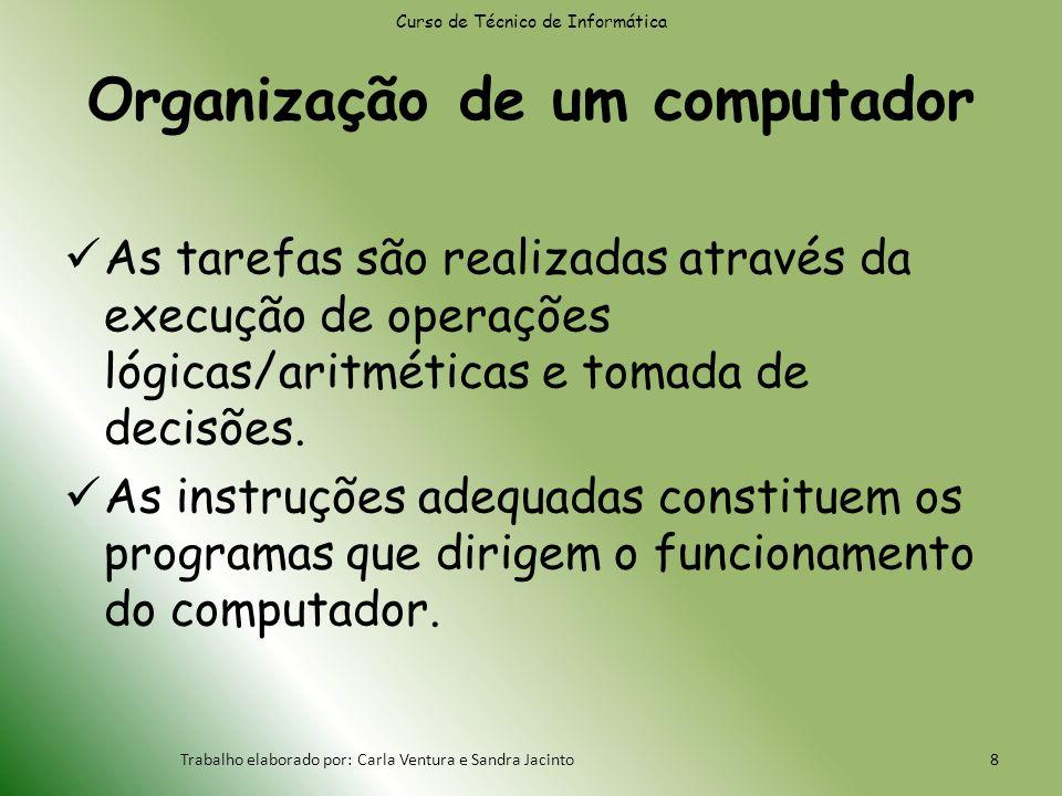 Organização de um computador As tarefas são realizadas através da execução de operações lógicas/aritméticas e tomada de decisões.