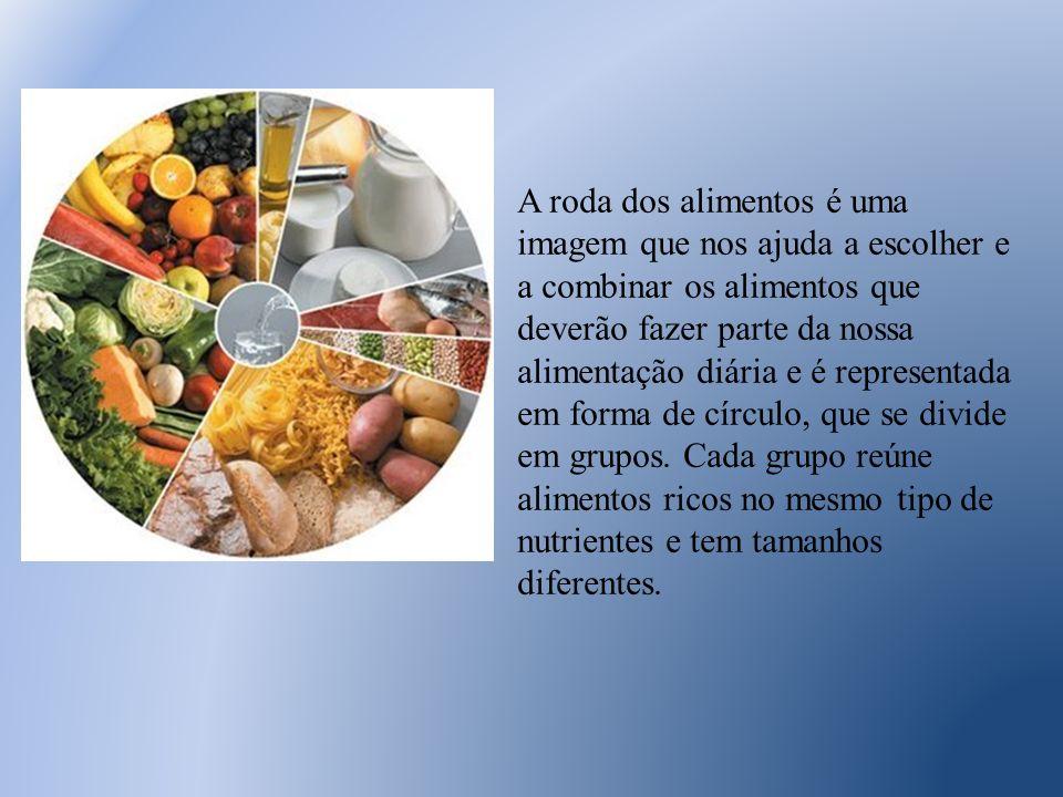 A roda dos alimentos é uma imagem que nos ajuda a escolher e a combinar os alimentos que deverão fazer parte da nossa alimentação diária e é represent
