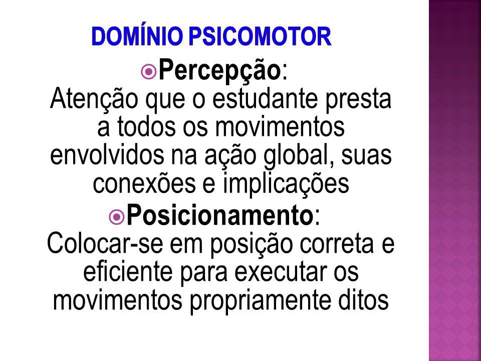 Execução Acompanhada Complexidade do Movimento Completo Domínio de Movimentos MecanizaçãoPosicionamentoPercepção