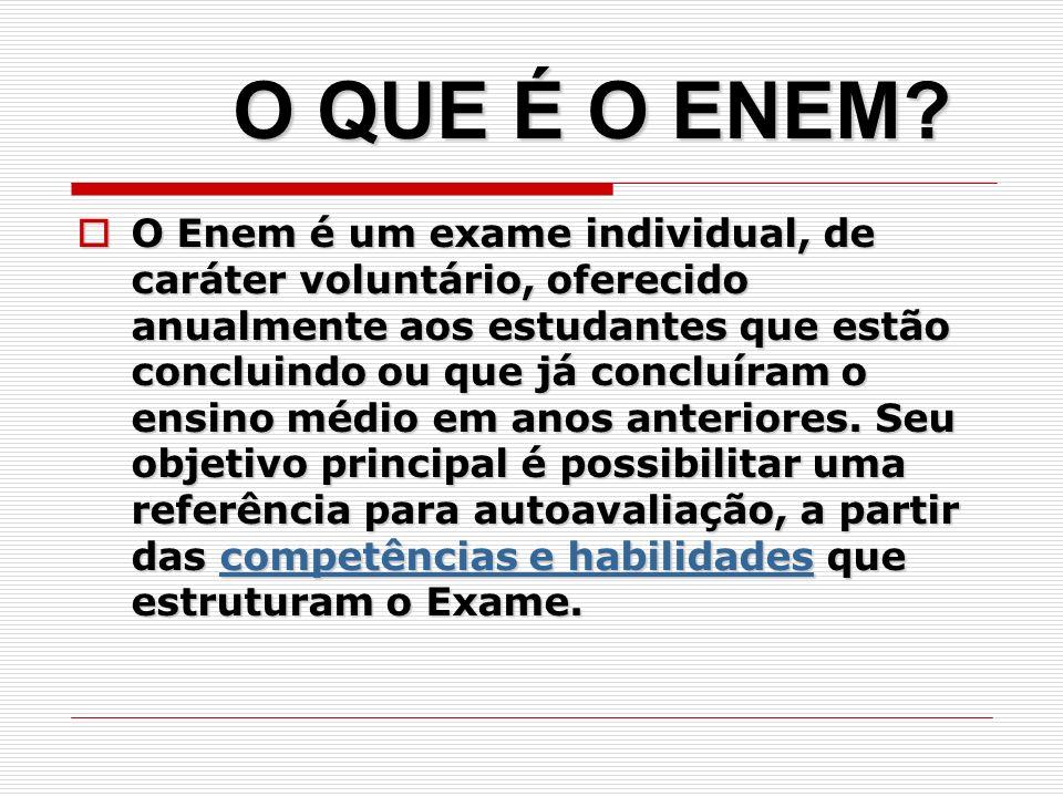 O Enem é um exame individual, de caráter voluntário, oferecido anualmente aos estudantes que estão concluindo ou que já concluíram o ensino médio em a