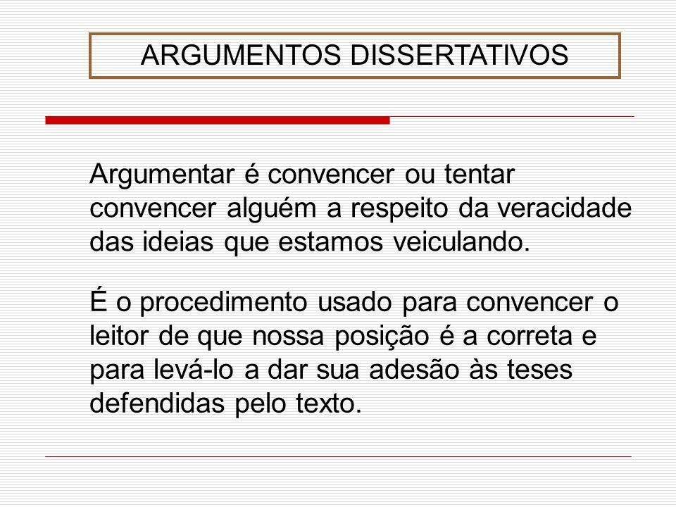 ARGUMENTOS DISSERTATIVOS Argumentar é convencer ou tentar convencer alguém a respeito da veracidade das ideias que estamos veiculando. É o procediment
