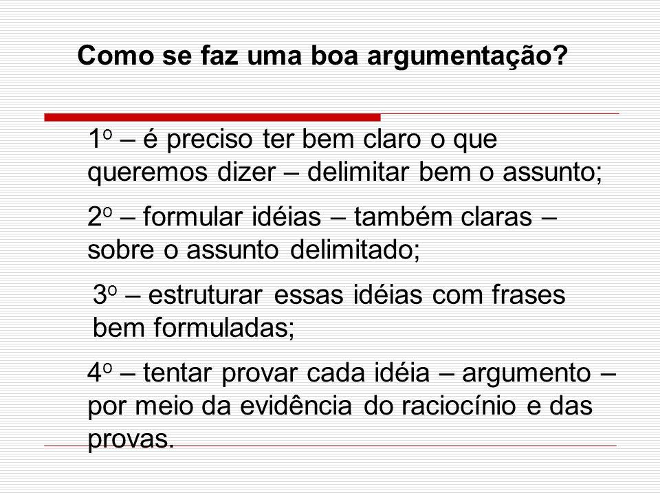 Como se faz uma boa argumentação? 1 o – é preciso ter bem claro o que queremos dizer – delimitar bem o assunto; 2 o – formular idéias – também claras