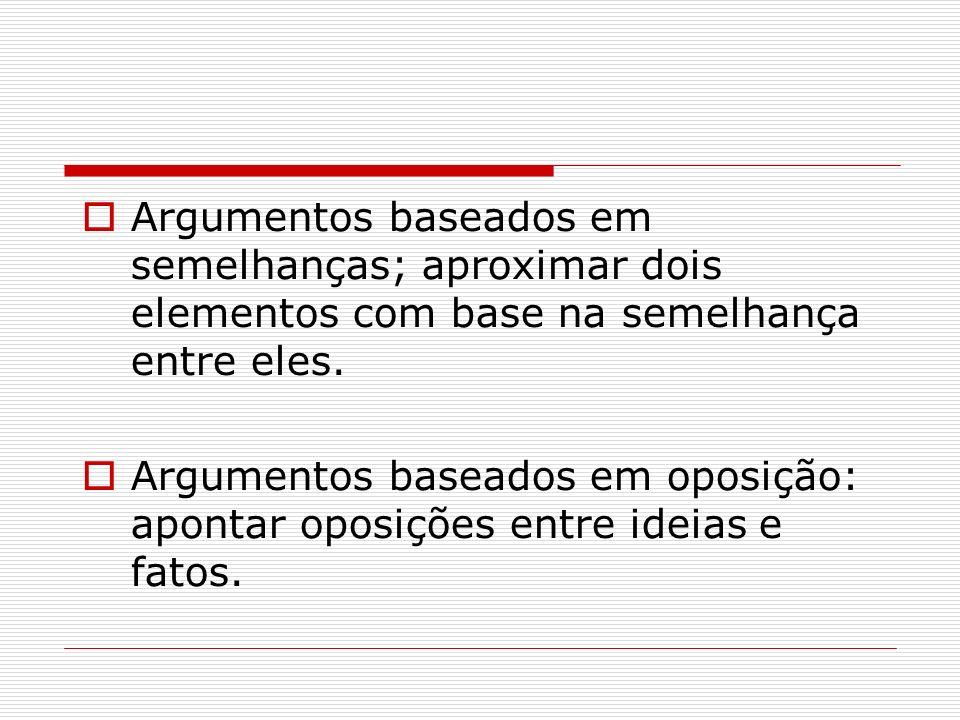 Argumentos baseados em semelhanças; aproximar dois elementos com base na semelhança entre eles. Argumentos baseados em oposição: apontar oposições ent