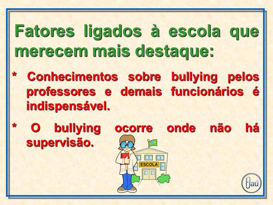 * Conhecimentos sobre bullying pelos professores e demais funcionários é indispensável. * O bullying ocorre onde não há supervisão. Fatores ligados à