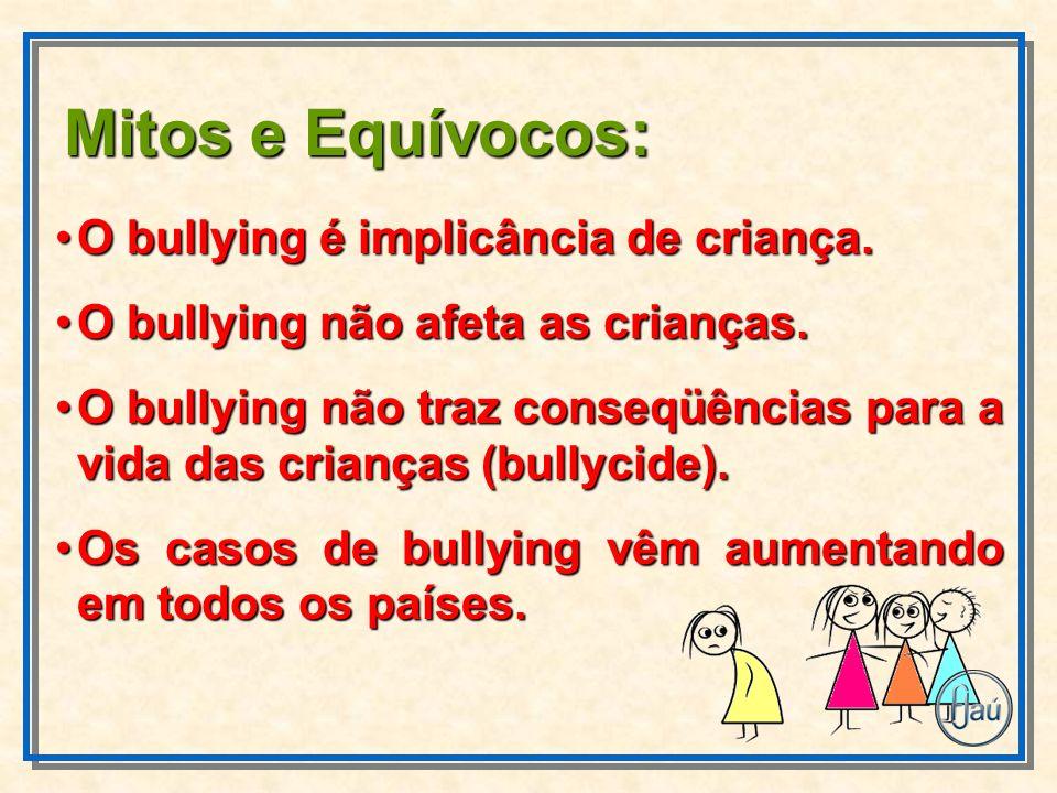 Mitos e Equívocos: O bullying é implicância de criança.O bullying é implicância de criança. O bullying não afeta as crianças.O bullying não afeta as c