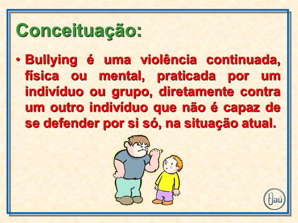 Bullying é uma violência continuada, física ou mental, praticada por um indivíduo ou grupo, diretamente contra um outro indivíduo que não é capaz de s