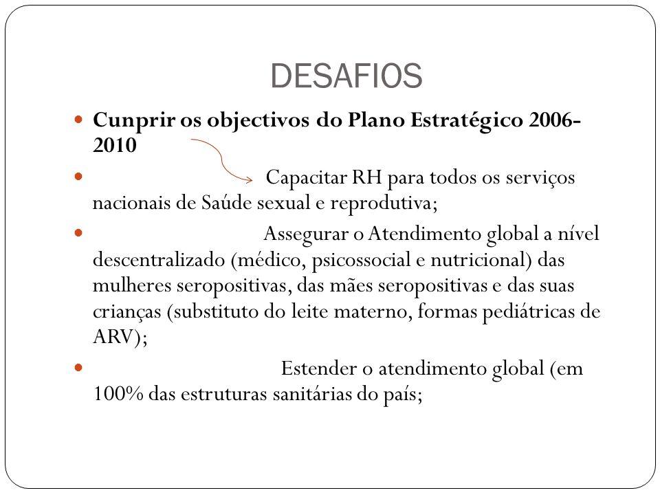 DESAFIOS Cunprir os objectivos do Plano Estratégico 2006- 2010 Capacitar RH para todos os serviços nacionais de Saúde sexual e reprodutiva; Assegurar o Atendimento global a nível descentralizado (médico, psicossocial e nutricional) das mulheres seropositivas, das mães seropositivas e das suas crianças (substituto do leite materno, formas pediátricas de ARV); Estender o atendimento global (em 100% das estruturas sanitárias do país;