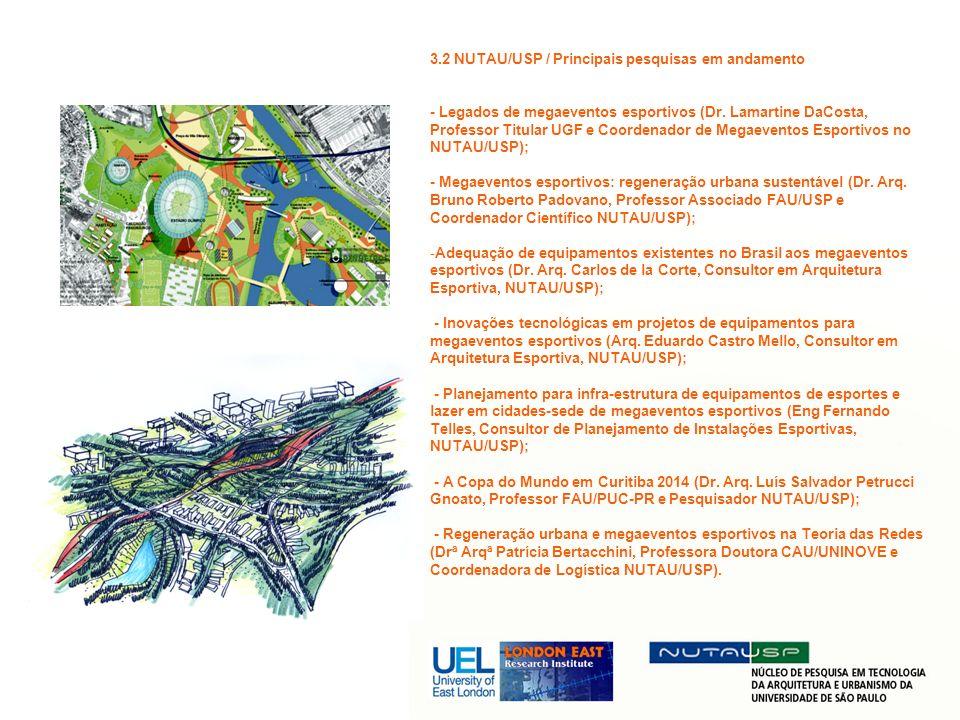 3.2 NUTAU/USP / Principais pesquisas em andamento - Legados de megaeventos esportivos (Dr. Lamartine DaCosta, Professor Titular UGF e Coordenador de M