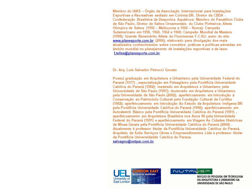 Membro do IAKS – Órgão da Associação Internacional para Instalações Esportivas e Recreativas sediado em Colônia-DR. Diretor da CBDA - Confederação Bra