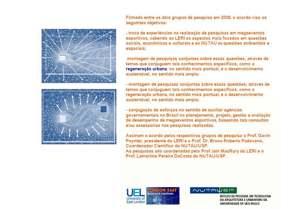 Firmado entre os dois grupos de pesquisa em 2008, o acordo visa os seguintes objetivos: - troca de experiências na realização de pesquisas em megaeven