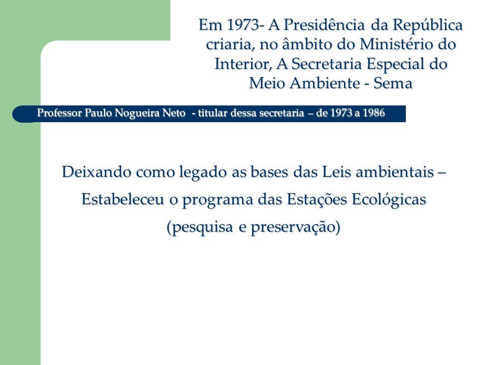 Em 1973- A Presidência da República criaria, no âmbito do Ministério do Interior, A Secretaria Especial do Meio Ambiente - Sema Deixando como legado as bases das Leis ambientais – Estabeleceu o programa das Estações Ecológicas (pesquisa e preservação) Professor Paulo Nogueira Neto - titular dessa secretaria – de 1973 a 1986
