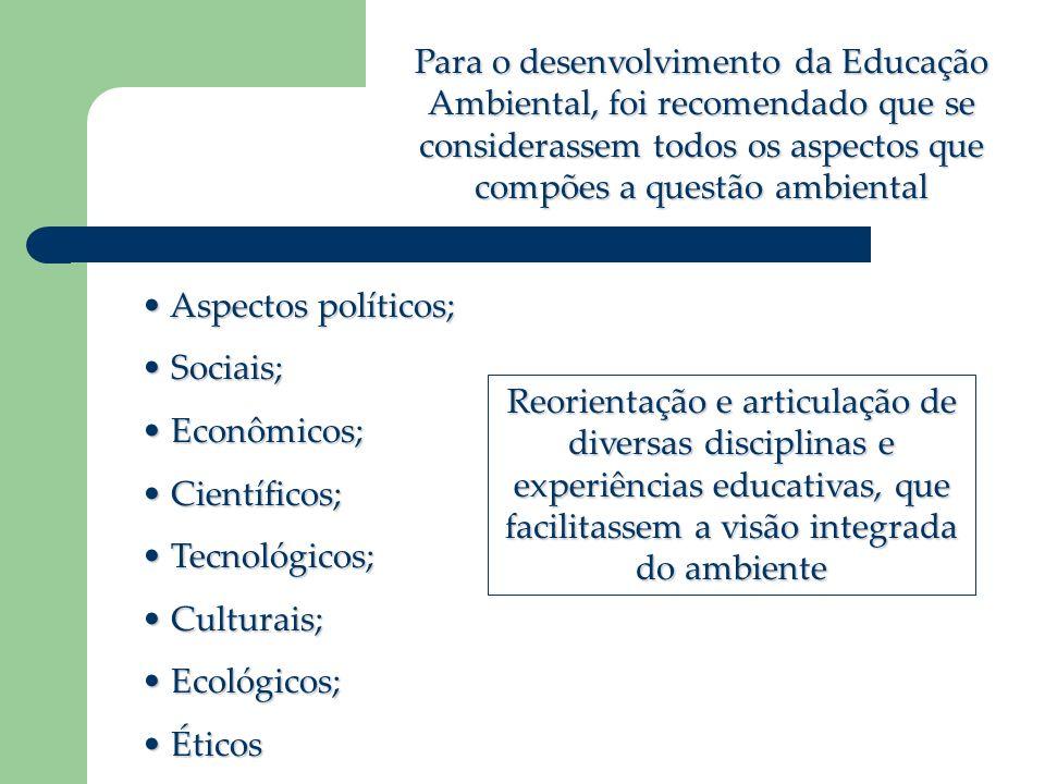 Para o desenvolvimento da Educação Ambiental, foi recomendado que se considerassem todos os aspectos que compões a questão ambiental Aspectos políticos; Aspectos políticos; Sociais; Sociais; Econômicos; Econômicos; Científicos; Científicos; Tecnológicos; Tecnológicos; Culturais; Culturais; Ecológicos; Ecológicos; Éticos Éticos Reorientação e articulação de diversas disciplinas e experiências educativas, que facilitassem a visão integrada do ambiente