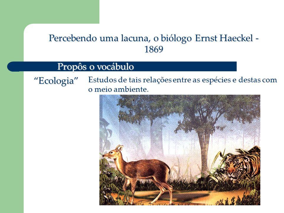 Percebendo uma lacuna, o biólogo Ernst Haeckel - 1869 Propôs o vocábulo Ecologia Estudos de tais relações entre as espécies e destas com o meio ambiente.