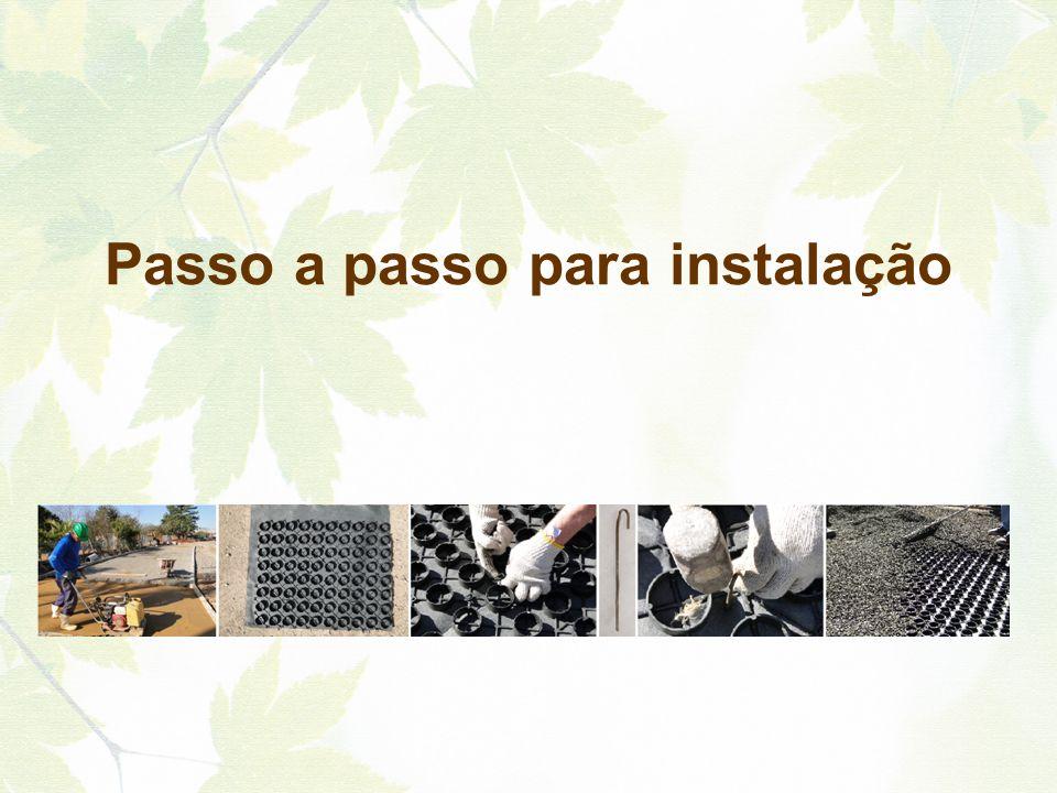 1) Base: A base do Pavimento Natural Ecotelhado® deve ser preparada de acordo com as normas técnicas para o tipo de utilização e tipo de carga de tráfego.