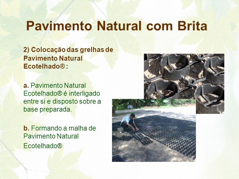 2) Colocação das grelhas de Pavimento Natural Ecotelhado® : a. Pavimento Natural Ecotelhado® é interligado entre si e disposto sobre a base preparada.