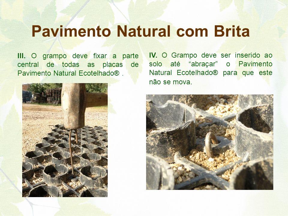 III. O grampo deve fixar a parte central de todas as placas de Pavimento Natural Ecotelhado®. IV. O Grampo deve ser inserido ao solo até abraçar o Pav