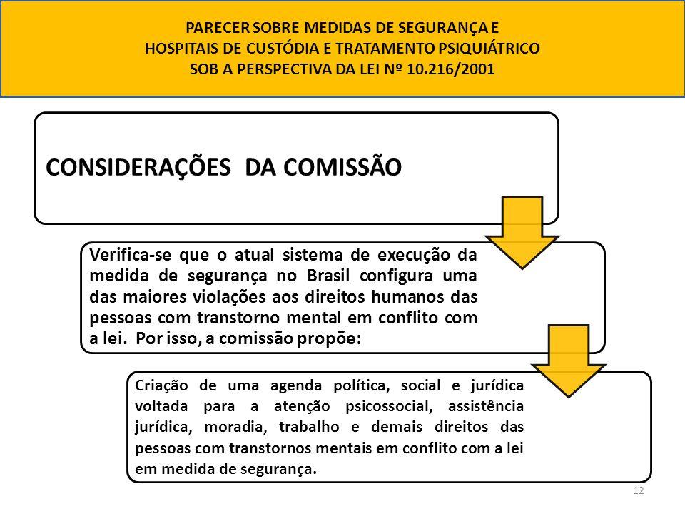 12 CONSIDERAÇÕES DA COMISSÃO Verifica-se que o atual sistema de execução da medida de segurança no Brasil configura uma das maiores violações aos dire