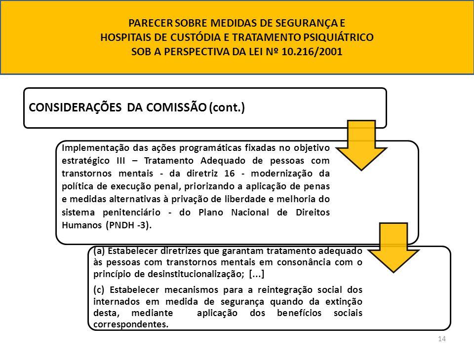 14 CONSIDERAÇÕES DA COMISSÃO (cont.) Implementação das ações programáticas fixadas no objetivo estratégico III – Tratamento Adequado de pessoas com tr