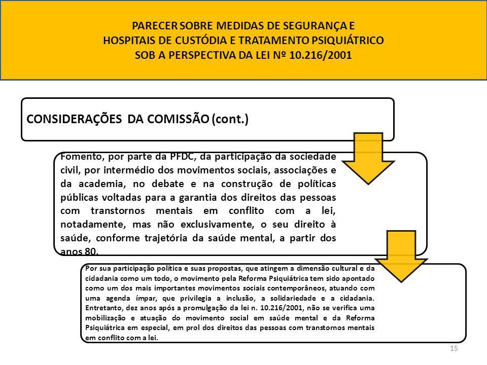 15 CONSIDERAÇÕES DA COMISSÃO (cont.) Fomento, por parte da PFDC, da participação da sociedade civil, por intermédio dos movimentos sociais, associaçõe
