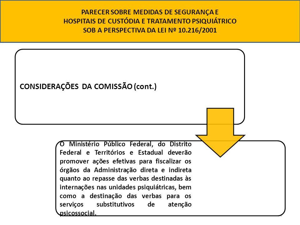 18 CONSIDERAÇÕES DA COMISSÃO (cont.) O Ministério Público Federal, do Distrito Federal e Territórios e Estadual deverão promover ações efetivas para f