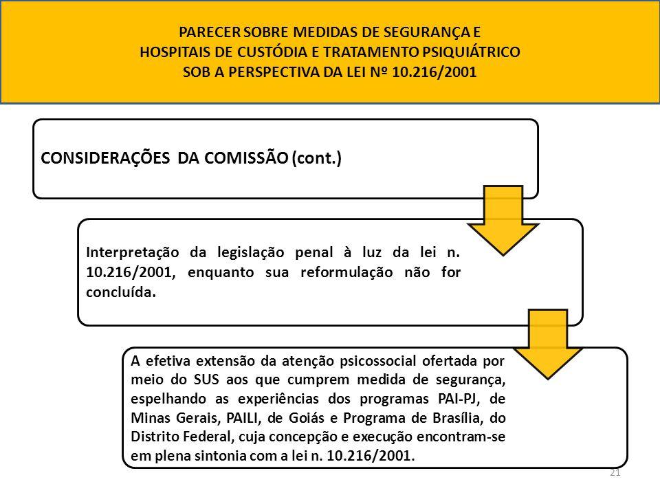 21 CONSIDERAÇÕES DA COMISSÃO (cont.) Interpretação da legislação penal à luz da lei n. 10.216/2001, enquanto sua reformulação não for concluída. A efe