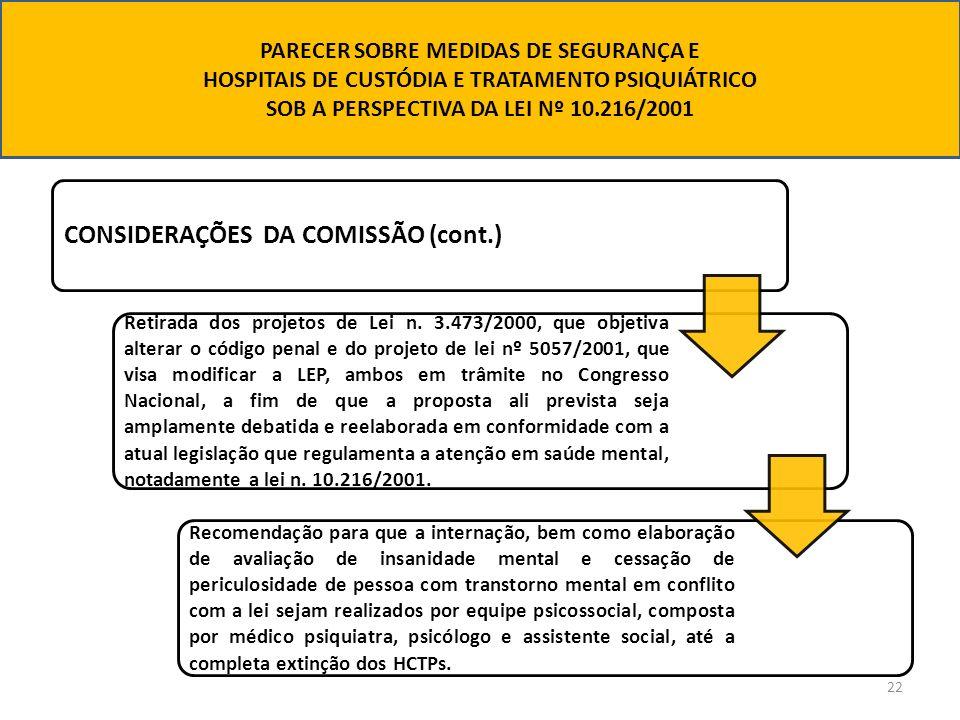 22 CONSIDERAÇÕES DA COMISSÃO (cont.) Retirada dos projetos de Lei n. 3.473/2000, que objetiva alterar o código penal e do projeto de lei nº 5057/2001,
