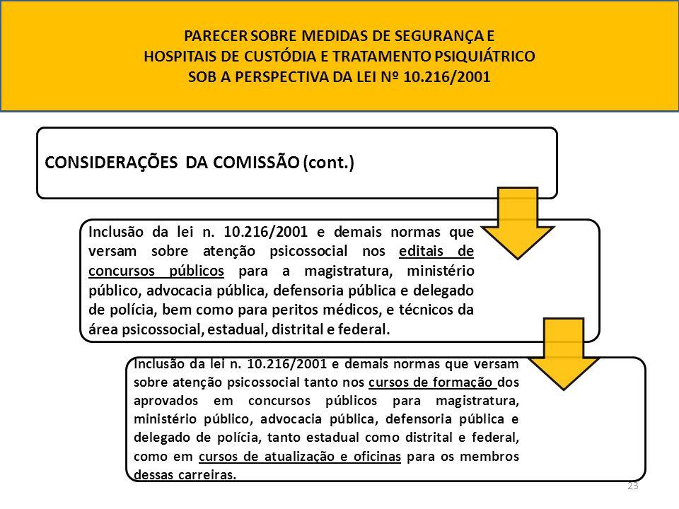 23 CONSIDERAÇÕES DA COMISSÃO (cont.) Inclusão da lei n. 10.216/2001 e demais normas que versam sobre atenção psicossocial nos editais de concursos púb