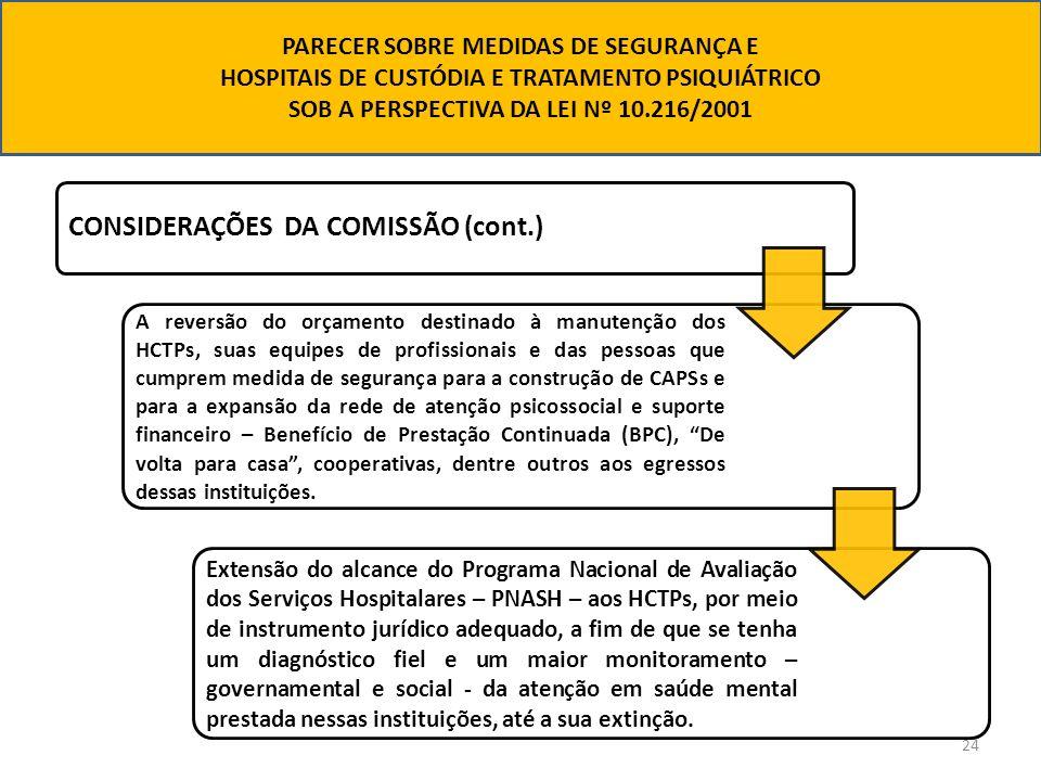 24 CONSIDERAÇÕES DA COMISSÃO (cont.) A reversão do orçamento destinado à manutenção dos HCTPs, suas equipes de profissionais e das pessoas que cumprem